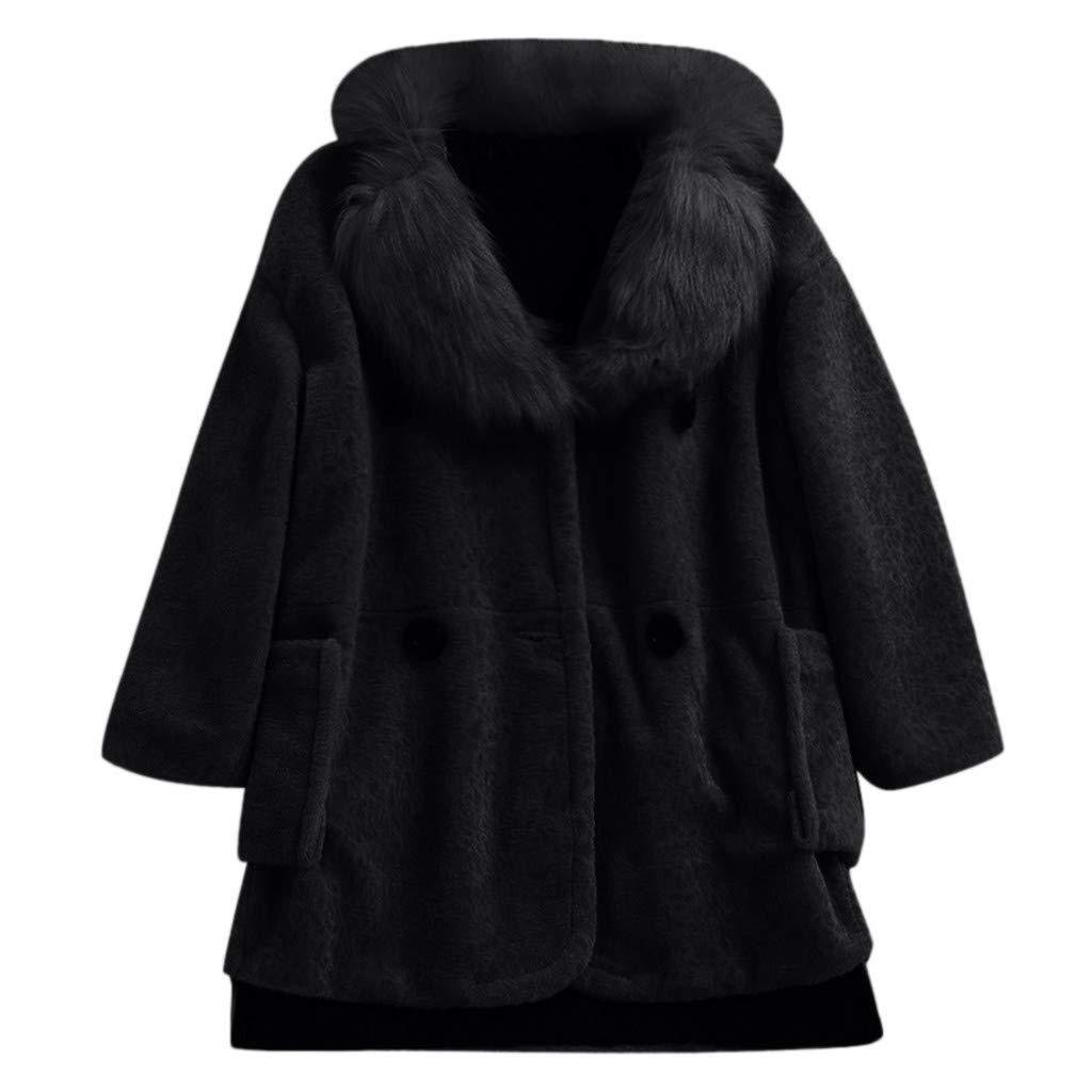 FEDULK Womens Fleece Thick Jacket Faux Fur Winter Warm Coat Long Sleeve Lapel Outwear Overcoat(Black, Large) by FEDULK