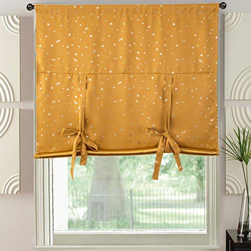 (Yellow Blackout Roman Valance Curtains Tie Up Shades Room Darkening Thermal Insulated Window Treatments Curtains Drapes for Kitchen, Kids Bedroom, Living Room, Nursery Room,Star Pattern,46x63inch Long)