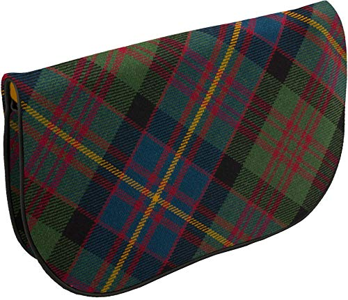 Large Leather Clutch Bag With Cameron of Erracht Tartan Inside and Back Pocket