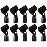 GLS Audio Mic Clip - Heavy Duty Microphone Clips - ''U'' Style Mike Clip - Fits all standard size Mics - 10 PACK