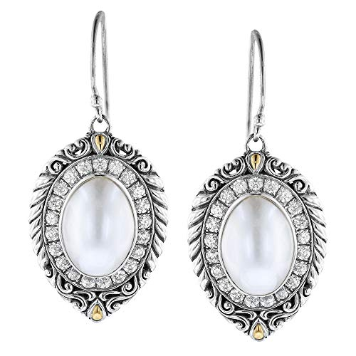 Robert Manse Designs Bali RoManse Sterling Silver and 18K Gold Earrings with Mabe Pearl and White Zircon