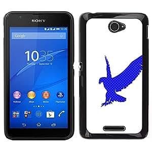 EJOY---Cubierta de la caja de protección para la piel dura ** Sony Xperia E4 ** --Eagle Hawk Logo Blanco Azul Limpio