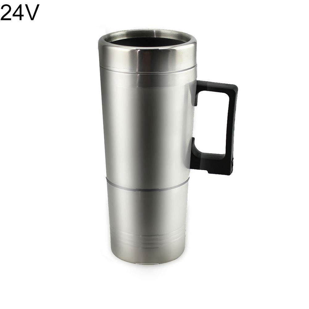 Finance Plan Big Promotion 12/24V 300ml Stainless Steel Car Auto Heating Cup Electric Kettle Water Bottle Silver 24V