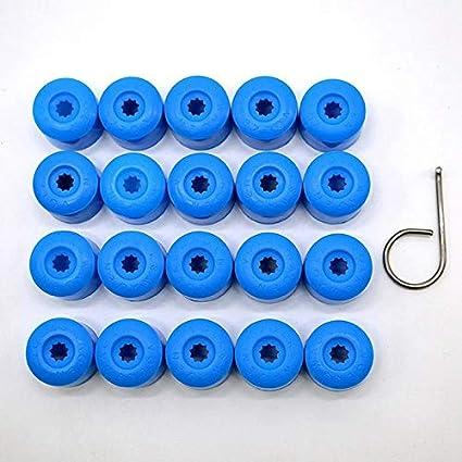 Colore : Verde NO LOGO W-Nuanjun-Dado Coperture Colorate del mozzo della Ruota della Gomma dellautomobile dei Cappucci di Protezione dei bulloni della Vite della Gomma 20pcs