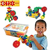 Fun Learning Construction Blocks & Gears Kit makes it the Best STEM Toy Gift for Kids Ages 4yr – 8 yr.
