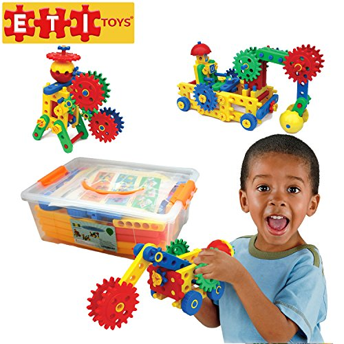 ETI Toys-109 Piece Educational Engineering Building Set for 4, 5, 6, 7+ Year Old Boys & Girls. Fun Learning Construction Blocks & Gears Kit makes it the Best STEM Toy Gift for Kids Ages 4yr - 8 yr.