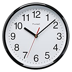 Plumeet Kids Wall Clock, 10 Silent Non Ticking Quality Quartz Black Wall Clock Decorative Home/Kitchen/Office/School Clock, Easy to Read, Battery Operated (Black)