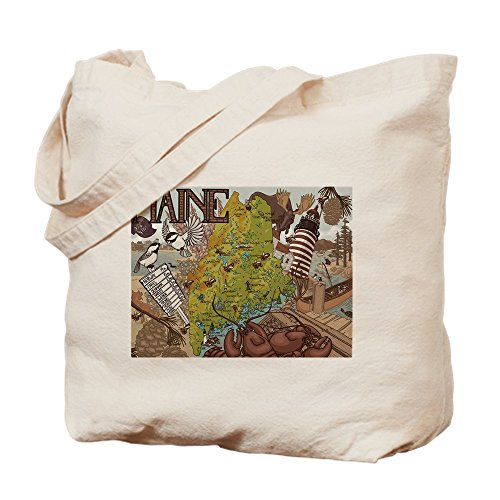 CafePress - MAINE - Natural Canvas Tote Bag, Cloth Shopping - Fitch Moose