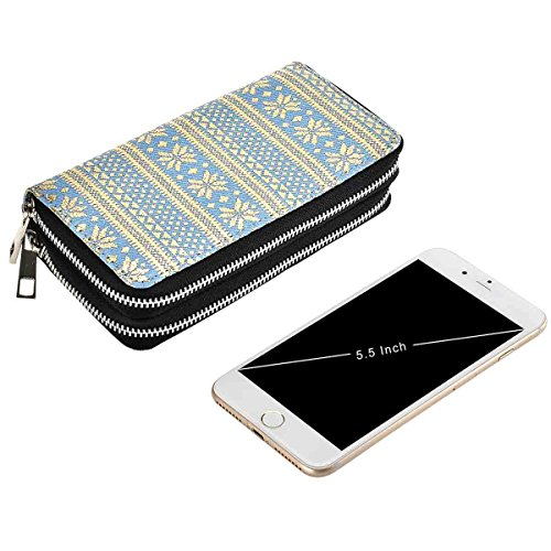 Phone for Blue Cash Clutch Big Size Card Zippered Premium Purse Wallet Woman for Coin HAWEE Smart gold Long Snowflake PU Dual T6w7AU