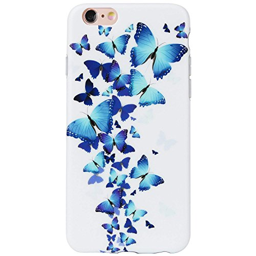 DICHEER iPhone 6 Case,iPhone 6s Case,Cute Blue Butterflies for Women Girls Slim Fit Thin Clear Bumper Glossy TPU Soft Rubber Silicon Cover Best Protective Phone Case for iPhone 6/iPhone 6s ()
