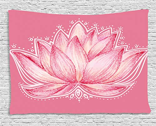 "Ambesonne Floral Tapestry, Lotus Flower Meditation Yoga Plant Petal Chakra Print, Wide Wall Hanging for Bedroom Living Room Dorm, 60"" X 40"", Pink Cream"