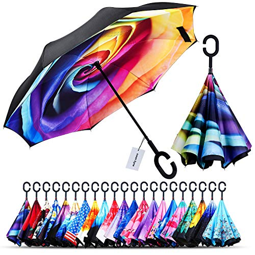 Owen Kyne Windproof Double Layer Folding Inverted Umbrella, Self Stand Upside-Down Rain Protection Car Reverse Umbrellas with C-Shaped Handle (Rainbow Rose) ()