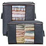 Lifewit Storage Bag Organizer King Size with Reinforced Handle Firm Fabric Strong Zipper Space Saver for Clothes, Quilts, Blankets, Bedding Foldable Breathable, 2 Pack, Grey