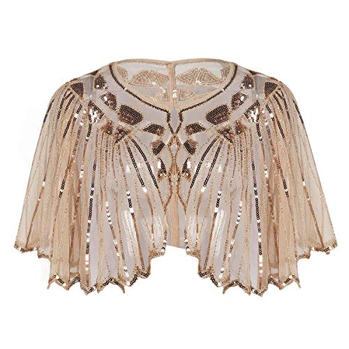 YOBAYE Women's 1920s Shawl Wrap Evening Cape Roaring 20s Costumes for Wedding Party Apricot (Beaded Net)