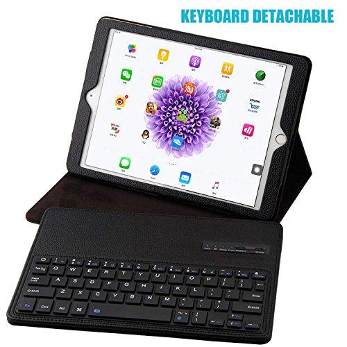 Genjia iPad 9.7'' Keyboard Case - PU Leather Smart Case with Removable Wireless Bluetooth Keyboard for iPad 6th(9.7'', 2018), iPad 5th(9.7, 2017), iPad Pro 9.7, iPad Air1/Air2 (Black) by Genjia (Image #2)