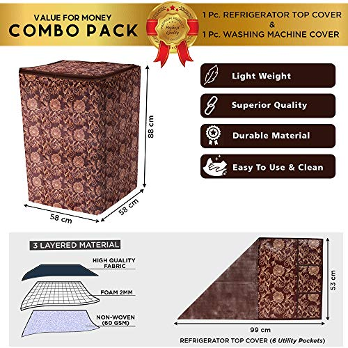 E-Retailer® Combo Set of Top Load Washing Machine Cover for 5 Kg to 7.5 Kg and Fridge Top Cover with 6 Utility Pockets (Brown, Set of 2 Pcs) 51Jo3pWd0UL India 2021