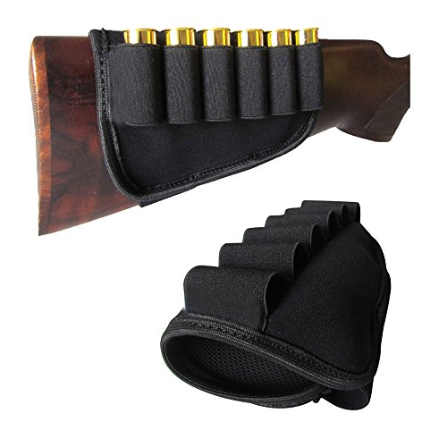 GVN 6 Rounds Buttstock Shell Bullet Bandolier Holder Shotgun Stock Ammo Pouch Carrier for 12G 12 Gauge/20G 20 Gauge Outdoor Hunting