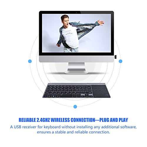 fosa 2.4Ghz Wireless Keyboard, Portable Slim Wireless Handheld Keyboard with Touchpad, Fast-Charging for iOS, Windows System/PC/Notebook/TV Box/Computer so on by fosa (Image #3)