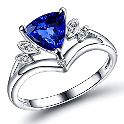 White Gold With Blue Tanzanite Gemstone & Diamond