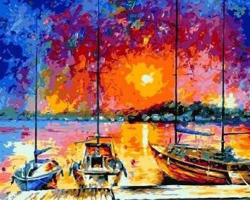 JXGG Pintura Digital Pintura al óleo sobre Lienzo Mural Moderno de Sala de Estar Pared Artista casa decoración Puesta de Sol en Puerto 40x50cmSin Marco