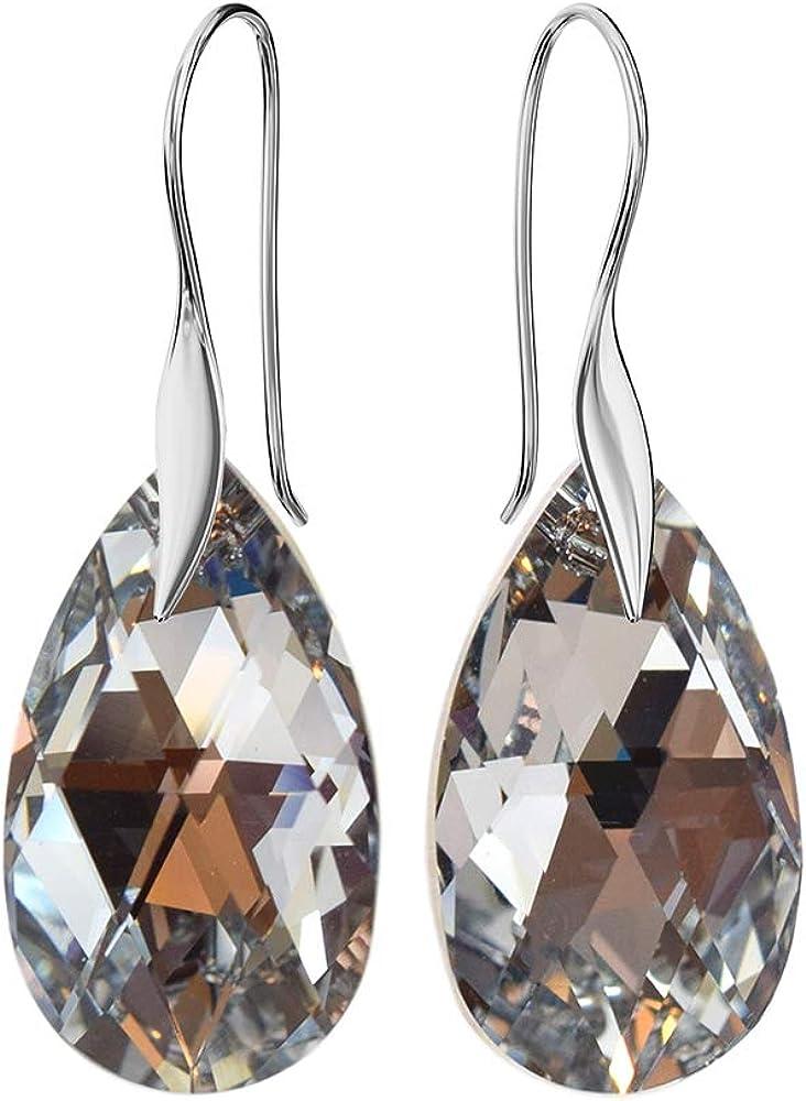Crystals & Stones - Pendientes con forma de almendra, 22 mm, con cristales de Swarovski Elements, color variante