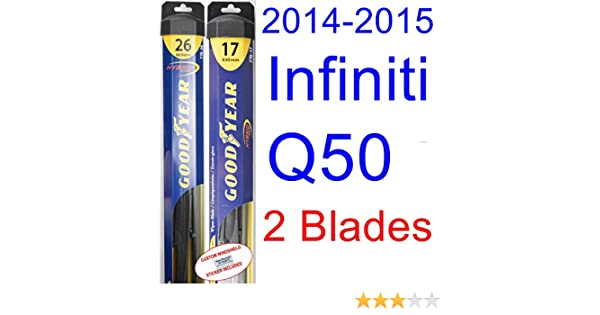 Amazon.com: 2014-2015 Infiniti Q50 Replacement Wiper Blade Set/Kit (Set of 2 Blades) (Goodyear Wiper Blades-Hybrid): Automotive