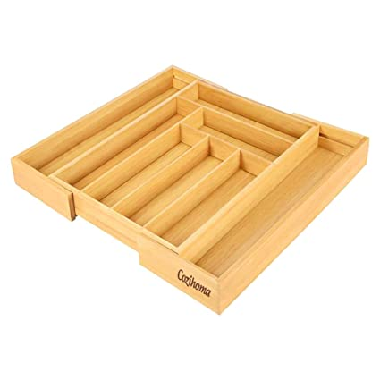 Bandeja para Cubiertos de Bambú, Organizador de Cubiertos de Cocina Ajustable Utilizado para Cubiertos o como Organizador de Escaparate de Joyas