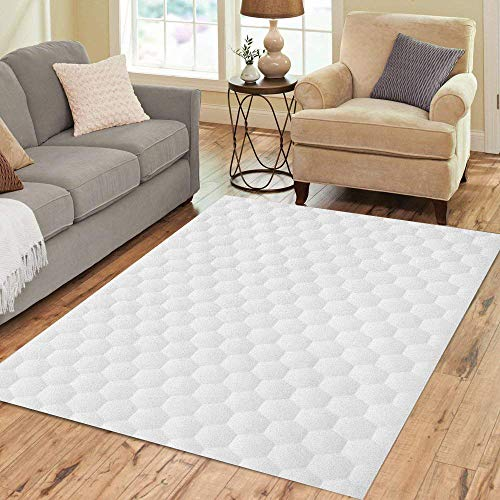 Pinbeam Area Rug Gray White Abstract Geometric Hexagon Pattern Modern Mosaic Home Decor Floor Rug 2' x 3' Carpet