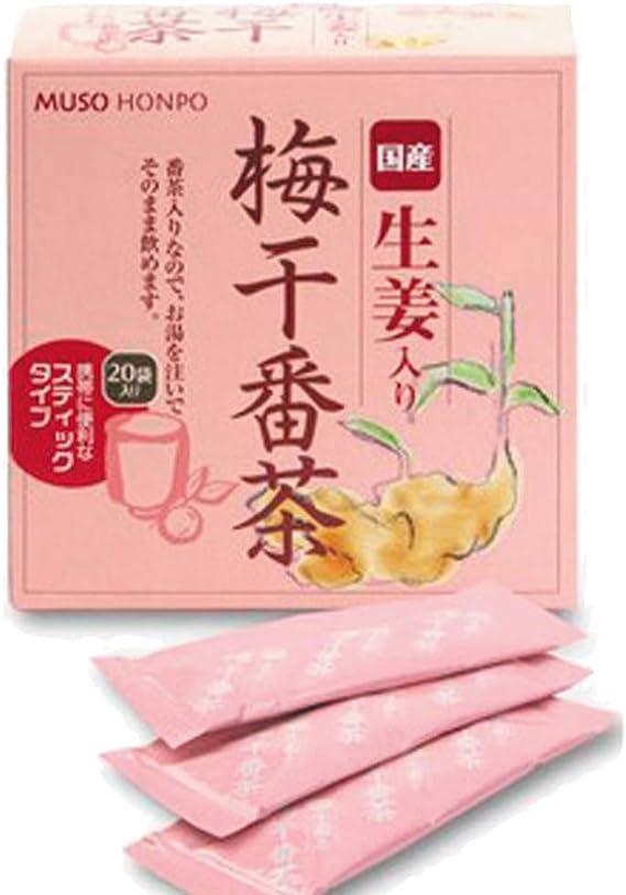 梅干し番茶 生姜・番茶入り梅醤 (スティック) 8g×20入3箱