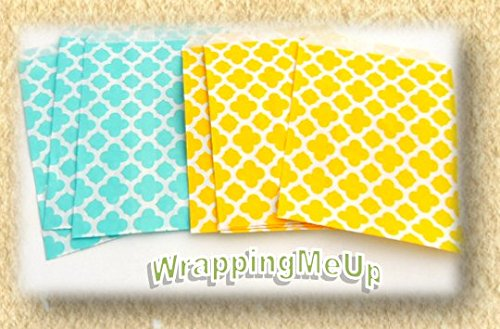 """100 -5x7"""" MOD Yellow and Teal Treat Bags, Wedding, Party-favor, Food Safe Bags"""