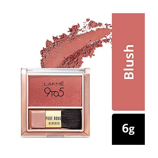 Lakmé 9 to 5 Pure Rouge Blusher, Peach Affair, 6 g 2021 August Pure pressed powder blush Easy to apply Available in a variety of shades