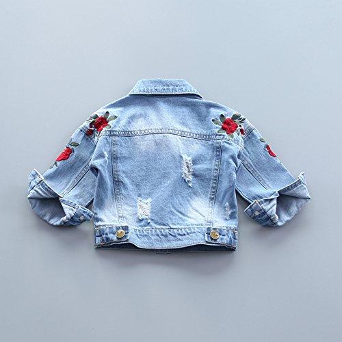keemella Baby Girls Denim Jacket with Rose Flower Embroidery Kids Toddler Ripped Denim Coat for Girl