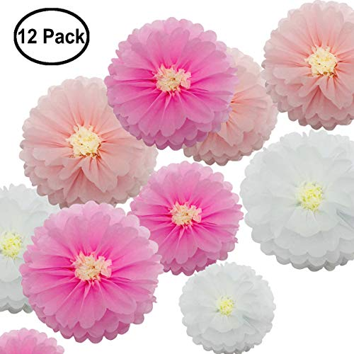 zorpia Tissue Paper Chrysanth Flowers for Wedding Baby Shower Nursery Room Parties & Events Decorations Pom Poms (Set of 12, White Pink)