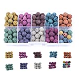 1 Box (Approx 180 Pcs) Multicolor Lava Stone Beads Round Rock Beads - 8mm Volcanic Loose Beads for Necklace Bracelet Jewelry Making