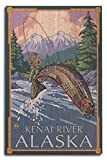 Lantern Press Kenai River, Alaska - Angler Fly Fishing Scene (Leaping Trout) (10x15 Wood Wall Sign, Wall Decor Ready to Hang)