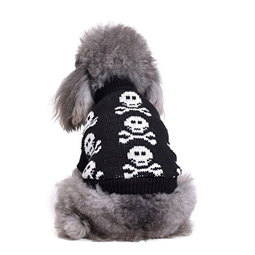S-Lifeeling Skull Dog Sweater Holiday Halloween Christmas Pet Clothes Soft Comfortable Dog Clothes - Black -