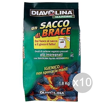 Set 10 DIAVOLINA Carbón Bolsa Brace Ova 1,8 Kg Para Barbacoas Y Chimeneas