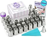 57pcs Complete Russian Piping Tips Set - Premium Cake & Cupcake Decorating Tools Kit - 34 Icing Nozzles + 20 Pastry Bags + Silicone Bag + 2 Couplers - Gift Box - Full PDF User Guide & Frosting Recipes