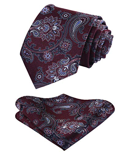 HISDERN Extra Long Paisley Floral Tie Handkerchief Men's Necktie & Pocket Square Set