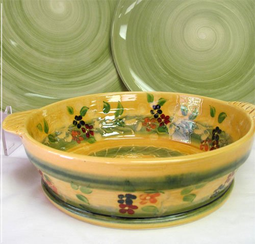 Souleo, Round 'Tian' Medium Casserole/Baker/Serving Bowl, 10.5' Divers Pattern, Imported