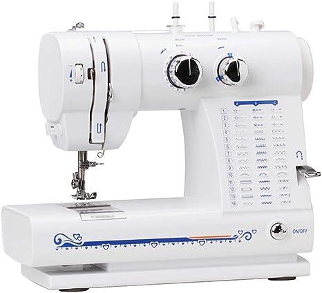Mini máquina de coser eléctrica de la máquina de coser portátil de 42 puntos con una pequeña lámpara de escritorio de dos cables y pedaleo de dos velocidades: Amazon.es: Hogar