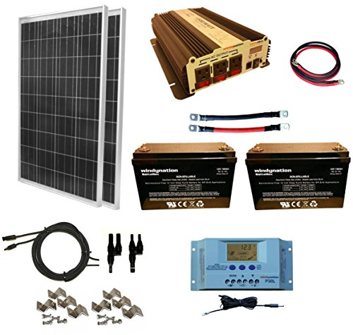 WindyNation 200 Watt (2pcs 100 Watt) Solar Panel Kit + 1500W Power Inverter + 200ah 12 Volt AGM Deep Cycle Battery Bank for RV, Boat, Off-Grid ()
