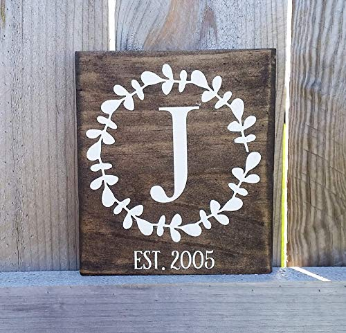 (Monogram wood sign, established date sign, wedding gift, bridal shower gift, gift for mom, gift for her, stained sign)