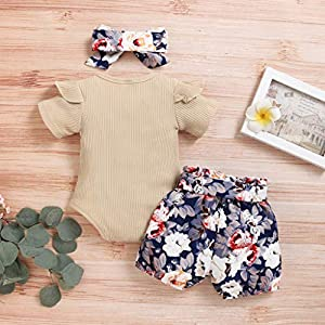 0-24 Months Girls Outfits Set, Newborn Girls Outfits Clothes Romper Bodysuit+Flower Print Shorts Set, Baby Clothing Set