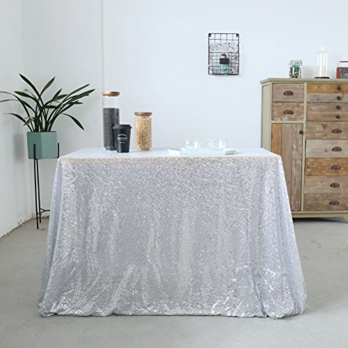 GFCC Wedding Sequin Table Cloth, 50x72inch Silver Sequin Tablecloth for Home Decoration