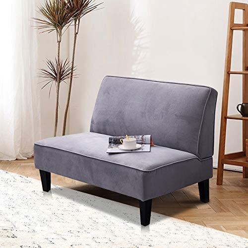 Alunaune Upholstered Settee Loveseat Bench Modern Cushioned Linen Armless Sofa Couch Sleeper