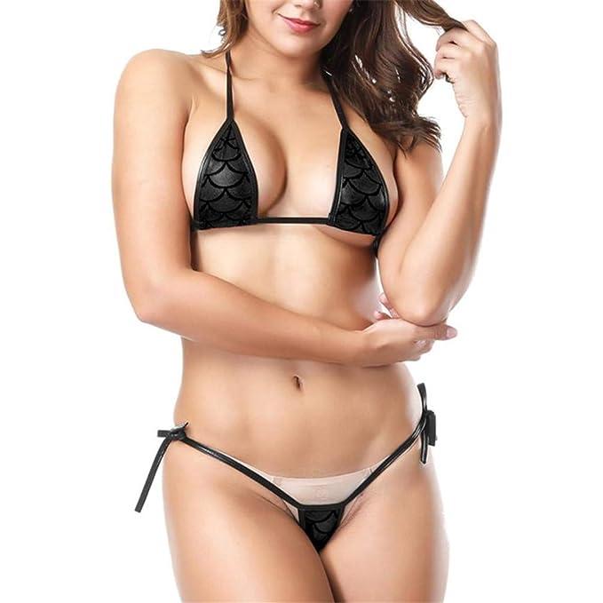 d9eb4f63690 Amazon.com: Sexy Bikini Women Shiny Bikini Micro Halter Top G-String Set  Swimsuit Thong Bikini: Clothing