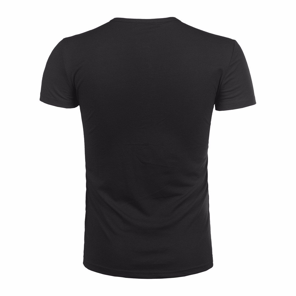 Farjing Clearance Fashion Men Pollover Shirt,Button Blouse Short Sleeve Fit Pollover Shirt Solid Top(L,Black) by FarJing (Image #4)
