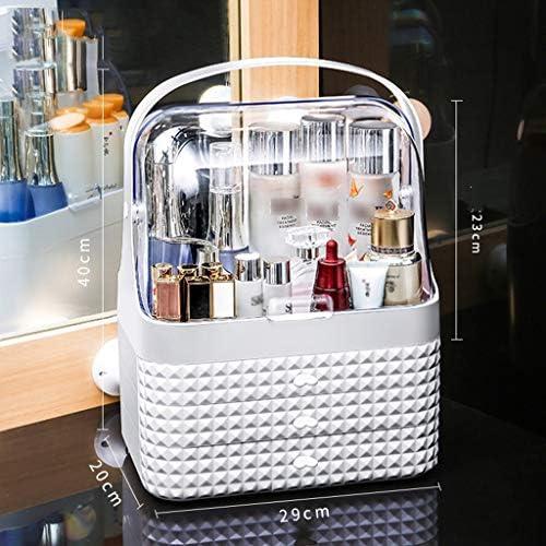 化粧品収納ボックス デスクトップ大容量防塵化粧品収納ボックス引き出し収納ボックスアクリル素材ダイヤモンドカット面ダブルオープンカバーピンクホワイト AFQHJ (Color : White)