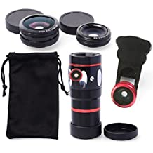 JAYLINNA Universal 4 in 1 Phone Camera Lens Kits,10x Telephoto Lens+180x Fisheye+0.67x Wide Angle+10x Micro Lens for Iphone X,7,8,6,6s,6 plus,Samsung Sony and More Smartphones(Red)